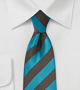 Solid Striped Tie in Teal and Espresso