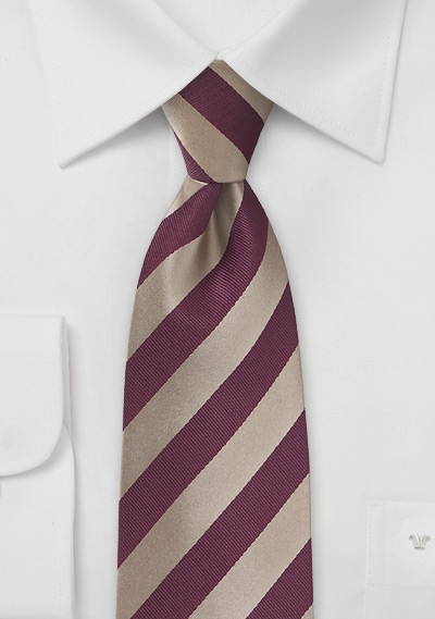 XL Length Tie in Gold and Burgundy