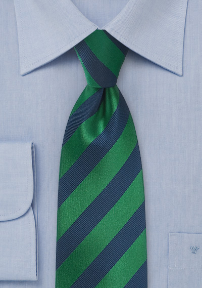 XL Striped Tie in Hunter Green and Navy