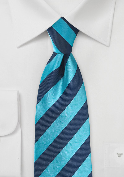 Men\'s Diagonal Striped Tie in Cyan and Navy