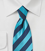 Men's Diagonal Striped Tie in Cyan and Navy