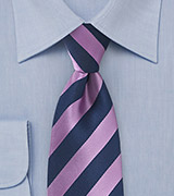 Modern Lilac and Navy Striped Tie
