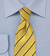 Traditional Striped Tie in Yellow and Dark Navy