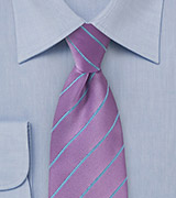 Bold Wisteria Hued Necktie with Cornflower Blue Accents