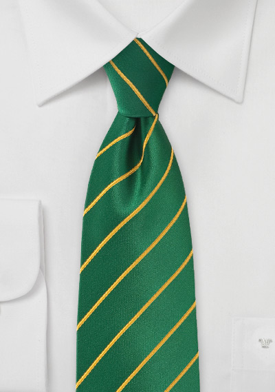 Bright Striped Tie in Greens and Golds