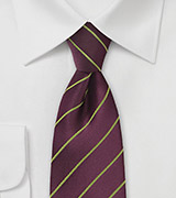 Eggplant Purple Necktie with Subtle Lime Accents