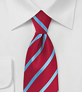 Tomato Red and Blue Striped Tie