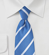 Repp Striped Tie in Blue and Silver