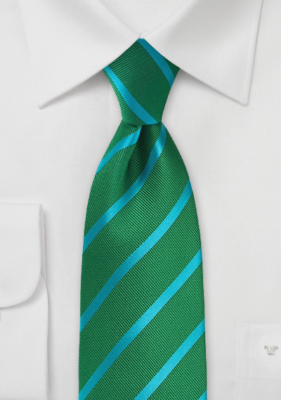 Kelly Green and Teal Striped Tie