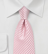 Petal Pink Striped Tie in XL