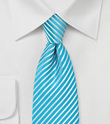 Bright Aqua Striped Tie in XL Length