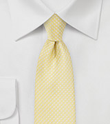 Vanilla Yellow Tie with Silver Pin Dots