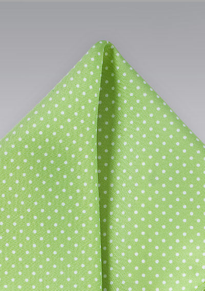 Light Lime Green Pin Dot Pocket Square