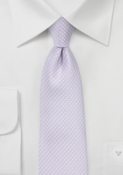 Skinny Lavender Color Tie with Pin Dot Pattern