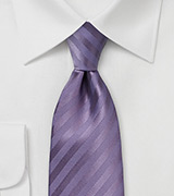 Solid Color Striped Tie in Victorian Lilac
