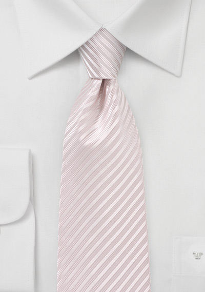 Blush Pink Striped Tie in XL Length