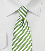 Kiwi Green and White Striped Tie
