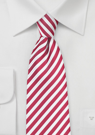 Striped Mens Tie in Cardinal Red