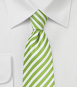 Lime Green, White, Silver Striped Tie