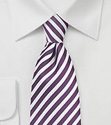 Grape Purple and White Striped Tie