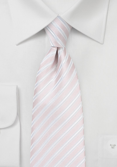Pastel Pink and White Striped Tie