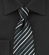 Back XL Length Tie With White, Silver & Gray Stripes