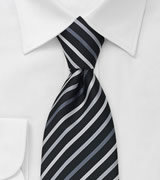 Back Tie With White, Silver & Gray Stripes