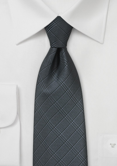 Smokey Charcoal Plaid Tie