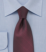 Plaid Necktie in Cordovan Red