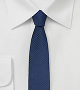 Skinny Check Tie in Patriot Blue