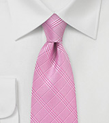 Summer Plaid Tie in Carnation Pink