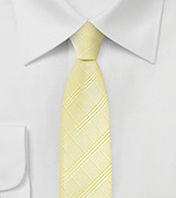 Skinny Plaid Tie in Banana Yellow