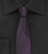 Black and Purple Skinny Tie with Modern Plaid Design