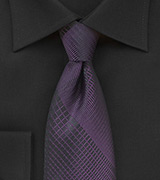 Black Tie with Prune Purple Plaid