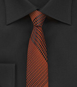 Black Skinny Tie with Copper Plaid