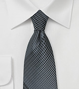 Modern Designer Plaid Tie in Charcoal and Silver