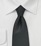 Geometric Plaid Tie in Charcoal and Black