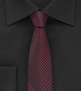 Black and Rosewood Colored Tie in Skinny Cut