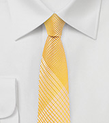Geometric Plaid Skinny Tie in Golden Yellow