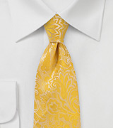 XL Length Paisley Tie in Lemon Yellow