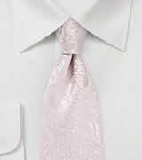 Soft Blush Paisley Tie in Long Length