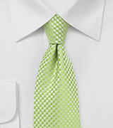 Textured Mens Tie in Green Glow
