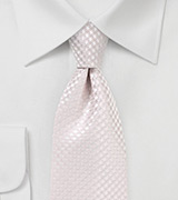 Micro Check Necktie in Soft Blush
