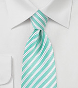 Pool Blue Tie with White Stripes
