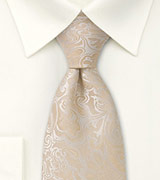 Extra Long Champagne Wedding Tie