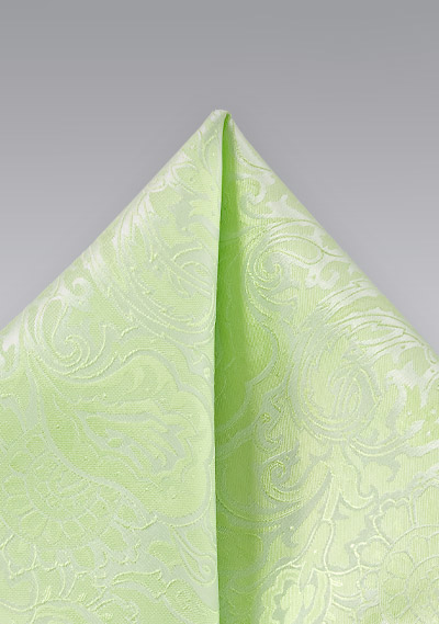 Pale Mint Green Pocket Square with Paisley Print