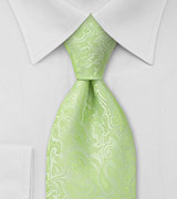 Pale Mint Green Paisley Tie