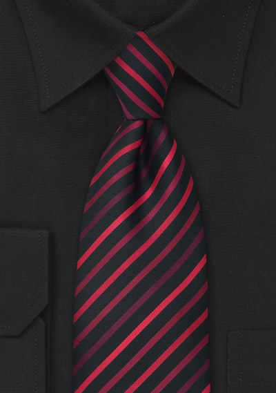 XL Striped Tie in Black and Red