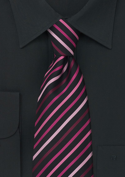 Black, Pink, Rose Tie in XL