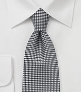 Extra Long Diamond Check Tie in Graphite